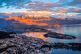 Solnedgang i Queenstown, New Zealand