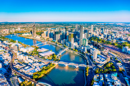 Brisbane skyline i Queensland, Australien