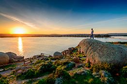 Udsigten fra Granite Island i South Australia