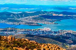 Udsigt over Hobart fra Mount Wellington